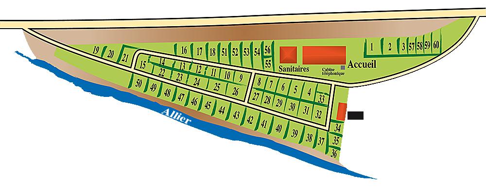 Plan du camping de l'Allier